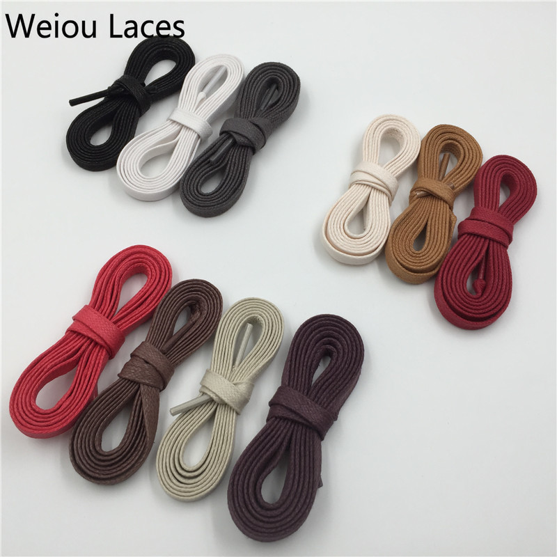 100 Pairs Lot Weiou Colored Waxed Cotton White Black Mens Dress Shoelaces Flat Waterproof Shoe