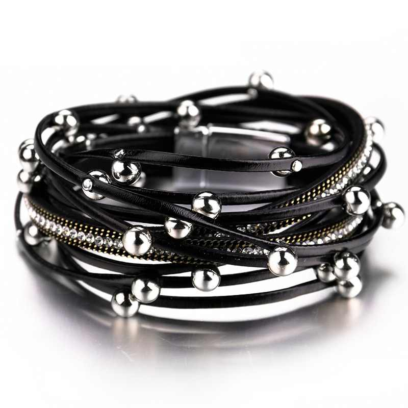 ALLYES Multilayer Leather Bracelets for Women Femme Crystal Metal Beads Charm Bohemian Wrap Bracelet Female Jewelry