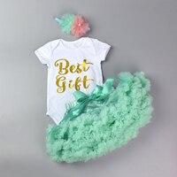 Bodysuit do bebê do Algodão Conjunto de Meninas Recém-nascidas Romper + Layered Pettiskirt + Headband Da Flor New Design 3 Pcs Bebes Aniversário Melhor presente