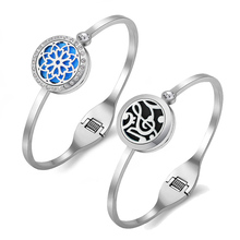 Aromatherapy Essential Oils Diffuser Bracelet Tree of Life Locket Jewelry Stainless Steel Aroma Cuff