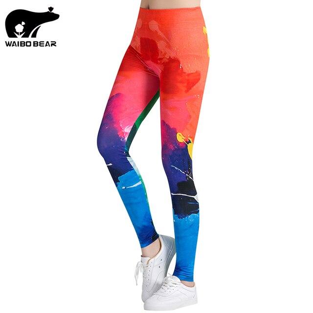 Разноцветные леггинсы фитнес женские Леггинсы 3D печатных брюки эластичные брюки карандаш Quick Dry брюк женские леггинсы waibo медведь