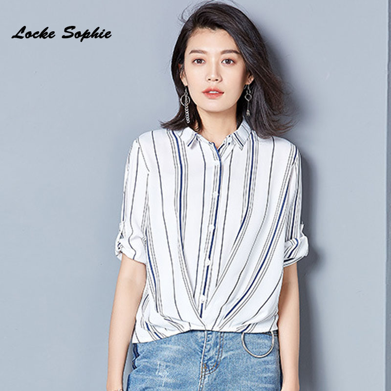 19fb836354910 Ladies Plus size blouses tops shirts 2018 Summer Fashion Chiffon Irregular  stripe Primer shirt women Skinny Retro shirts Girls-in Blouses   Shirts  from ...