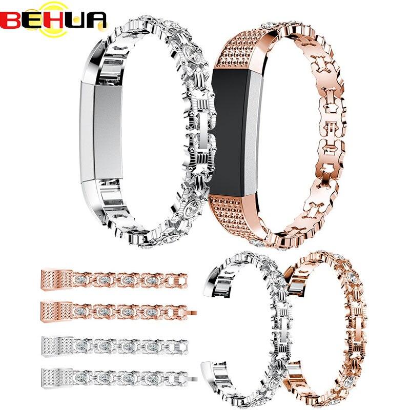 Hohe Qualität Uhr Strap band mit Strass Edelstahl Armband Armband Band Strap Für Fitbit Alta HR Correas de reloj