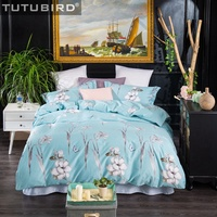 Небесно голубой постельное белье плоский лист цветочный принт постельных принадлежностей высокого качества из египетского хлопка