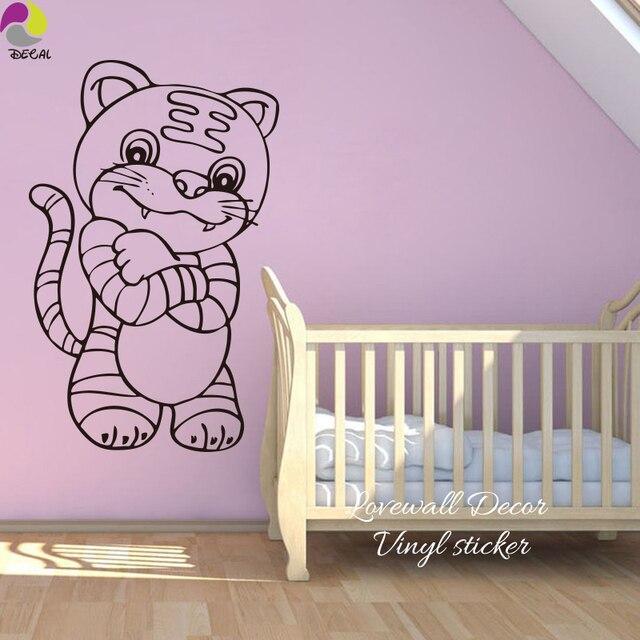 Cartoon Tiger Wall Sticker Baby Nursery Cute Large Cat Animal Decal Kids Room Bedroom Cut