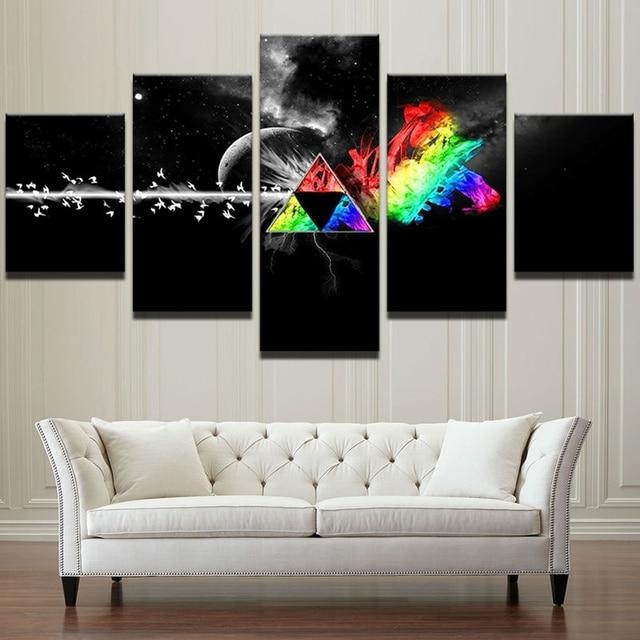Modular Pictures Home Decor Canvas Wall Art Posters 5 Peças Pink Floyd Rock  Música Pintura Sala Amazing Design