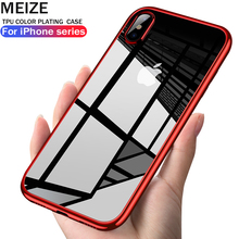 MEIZE Luxury Plated TPU Case For iPhone X 10 Transparent Ultra Thin Silicone Cover case x Phone Accessories soft