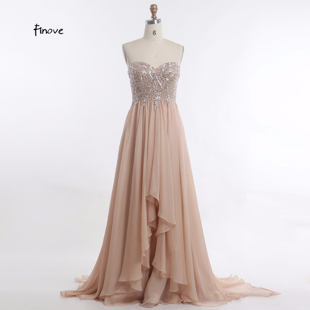 Khaki Evening Dresses Women New Design with A line Sweetheart Off Shoulder Beaded Long Prom Party
