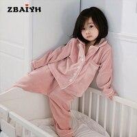 New Unisex Pajama infantil Sets Winter Warm Flannel Sleepwear boy Baby Girl Pajamas kids Bathrobe Homewear 2 Piece For 2 6 Age