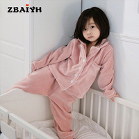 New Unisex Pajama Infantil Sets Winter Warm Flannel Sleepwear Boy Baby Girl Pajamas Kids Bathrobe Homewear
