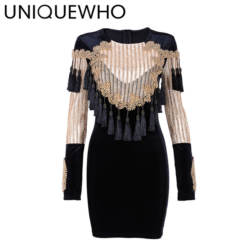 UNIQUEWHO Women Sexy Sequin Velvet Sheath Dress Black / Gold Long Sleeve Tassel Beaded Sequined Mini Dress for Club Party Spring club style one shoulder black long beaded sleeve dress for women