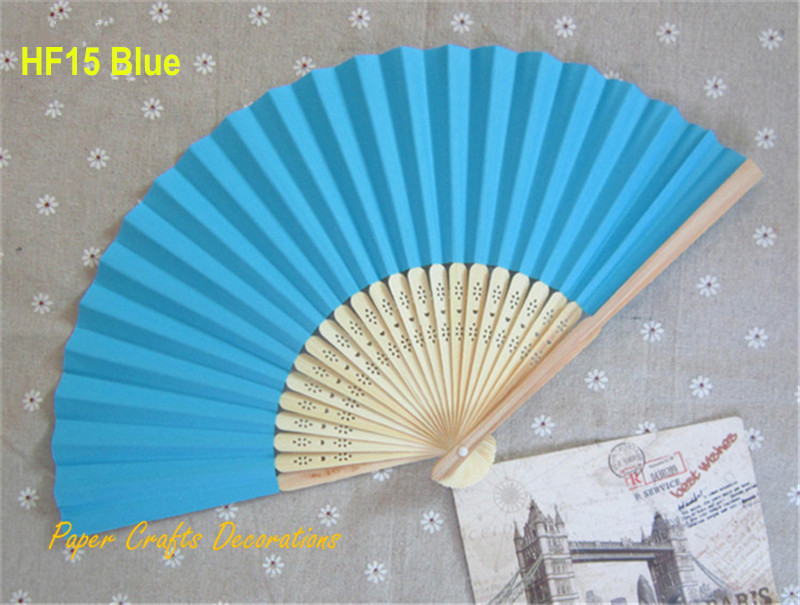 20pcs/lot 8.25inch=21cm Aquamarine Blue Folding Paper Bamboo Hand Fans Crafts Outdoor Wedding Favors Party Event Decorations