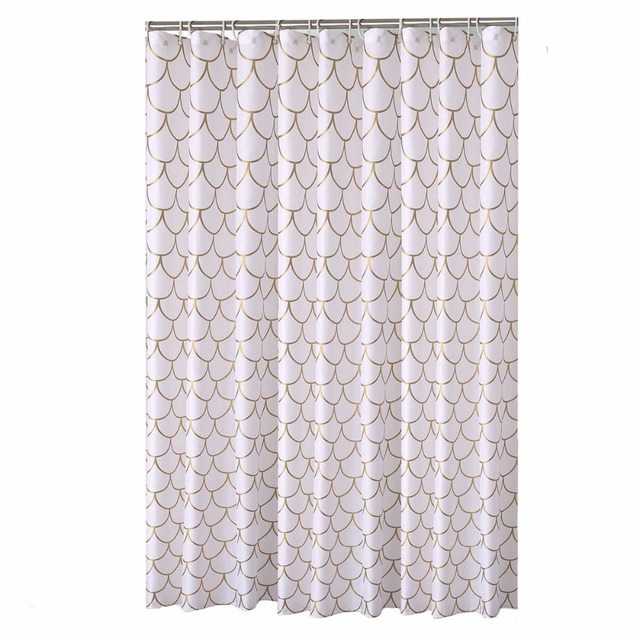 Modern Gold Mesh Designer Mildew Free Water Repellent Fabric Shower Curtain Liners Bathroom Polyester Waterproof Window Curtains
