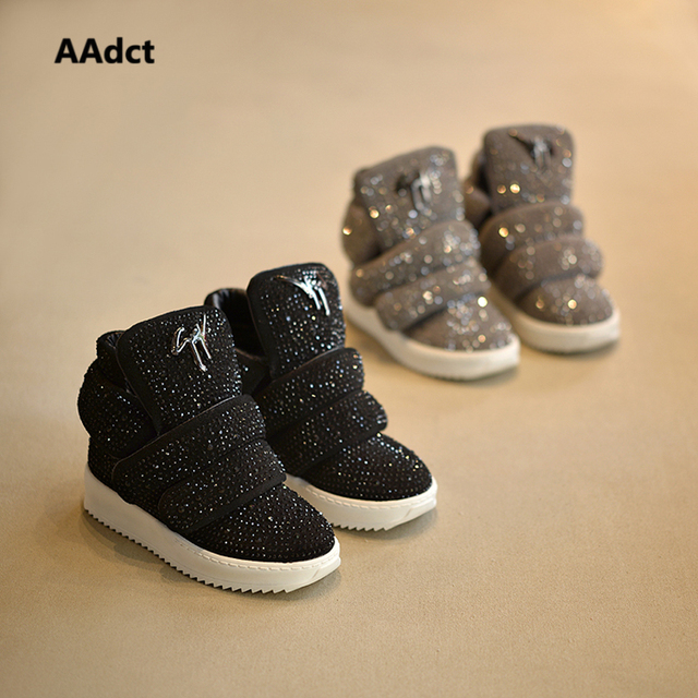 Aadct invierno fur kids shoes flash diamond girls moda niños shoes sneakers para niño del bebé top del alto de algodón deportes shoes