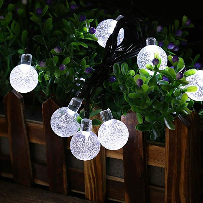 12M 100LED Solar Outdoor Crystal ball String Light Waterproof Garden Copper Wire Christmas Garland Party Wedding Decoration in Solar Lamps from Lights Lighting