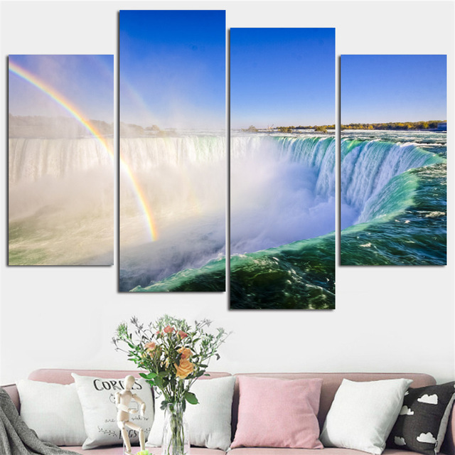 85e7f512a World Famous Waterfall Home Decorative Paintings Mountain Lake Posters  Natural Landscape Canvas Art Prints Pictures 4 Pcs/Set