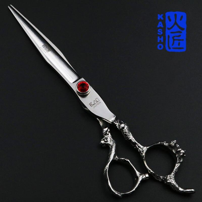 где купить 7 inch cutting scissors professional kasho scissors hairdressing salon barber pet shears dragon shaped handle дешево