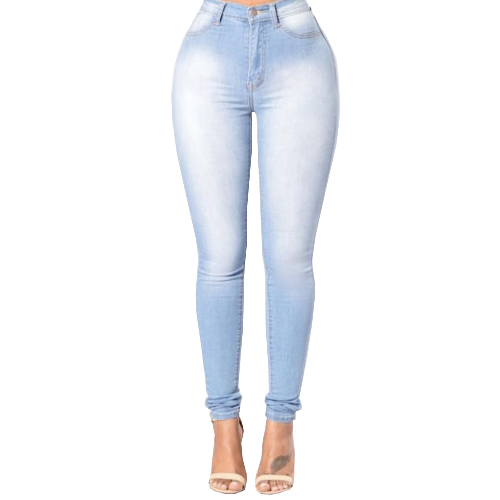 Fashion High Waist High Elastic Jeans Women Hot Sale American Style Skinny Pencil Denim Pants 2017 new jeans women spring pants high waist thin slim elastic waist pencil pants fashion denim trousers 3 color plus size