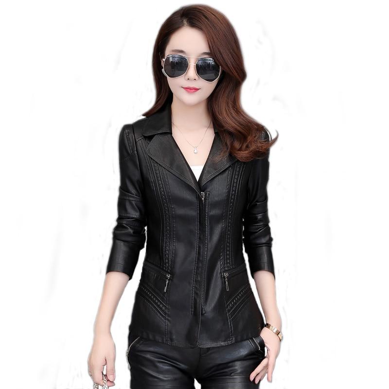 New Fashion Motorcycle Women short   leather   Jacket spring autumn Plus Size 5XL 6XL Slim PU   Leather   Lapel Zipper Outerwear Female