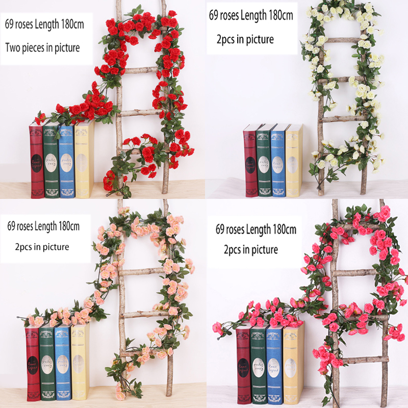 Artificial Flower Rattan Simulation Spring Red Rose Vine Wedding House Decoration 180cm Length Creepers Gift Decorative DIY