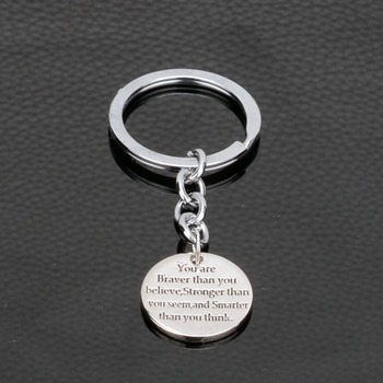 You are braver than you believe Stronger than you seem Smarter than you think Inspirational Keyrings Key Chains Women Men Gifts image
