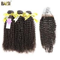 BAISI 100% Unverarbeitetes Europäisches Reines Haar Erweiterungen Lockiges Haar 10-28 zoll 3 Bundles mit Verschluss Freies Verschiffen, natürliche Farbe