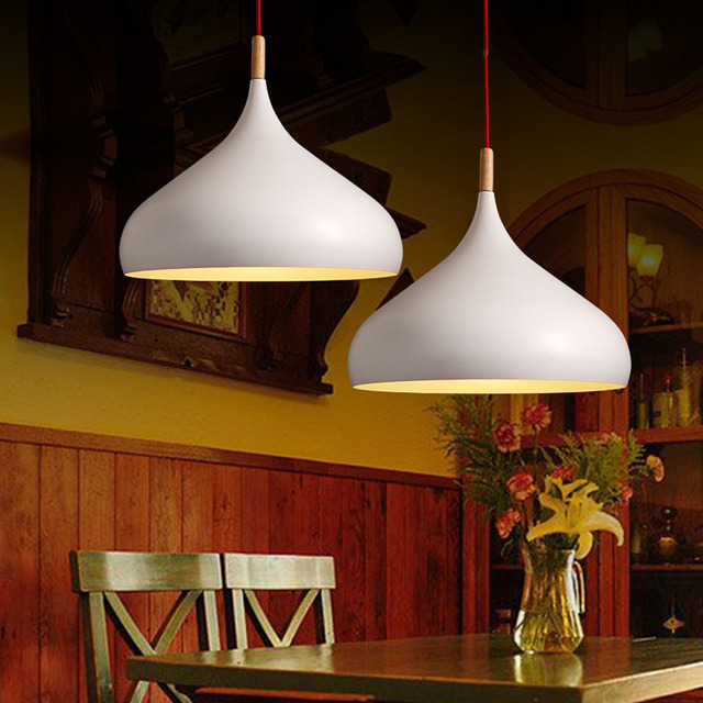 Japanese Pendant Lights Solid Brief White Nordic Light Iron Decorative Cafe Bar Living Room