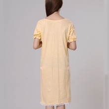 100% cotton nightgowns for women summer sleepshirts 2018 new autumn v-neck female sleepwear teenage girl lounge green yellow