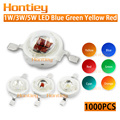 Wholesale 1000pcs LED Chip 1W 3W 5W Blue Green Cyan Yellow Red Orange Amber High Power Integration Lamps 400Nm-840Nm Normal Bulb