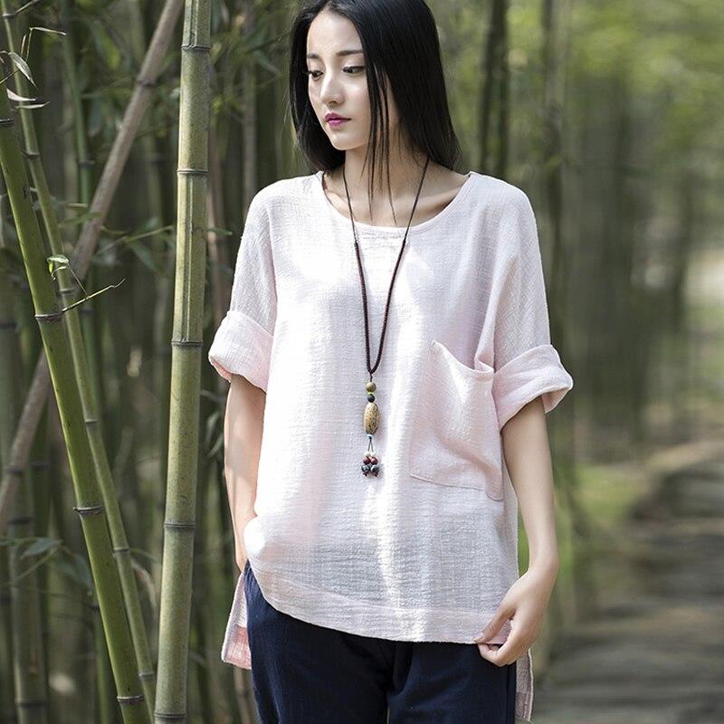 Buy Solid O Neck Cotton Linen Women