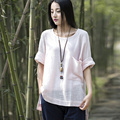 Solid O-neck Cotton Linen Women Blouse Shirt Plus size Loose Causal Summer Shirts Blouses Brand Design Vintage Shirt Tops B113