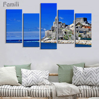 HD 5PCS Wall Art Canvas Fabric Poster Italy Town Landscape Panorama For Room Decor Home Decoration