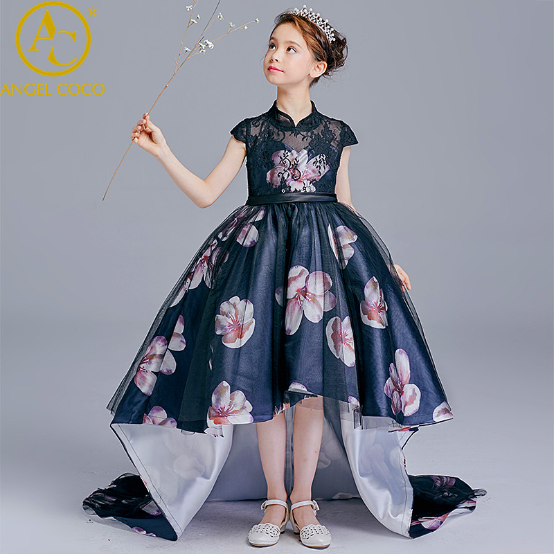 Chinese Style Girl Easter Princess Dress Trailing Flower Pompon Child Show Beauty Pageant Evening Dress Robe De Soiree Ball Gown вечернее платье robe de soiree 2015 vestido arabia style evening dress