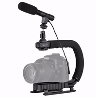 Phone Camera Steadicam Handheld Video Rig C shaped Handgrip Camera Stabilizer Microphone LED Video Light for iPhone Nikon Canon