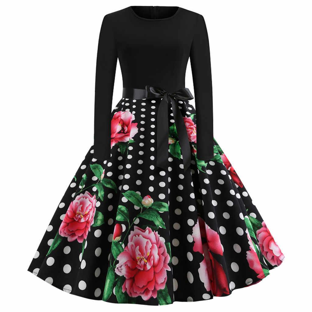 Black Polka Dot ผู้หญิงแขนยาว Robe Hiver Vintage 50s 60s Rockabilly Gothic Pin Up ฤดูใบไม้ร่วงฤดูหนาวกับเข็มขัด