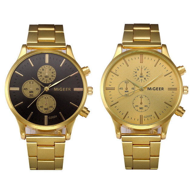 MIGEER Brand Reloj Hombre Watch Man Luxury Brand Vintage Gold Wristwatch Date Mens Classic Reloj Hombre Saatler Gift