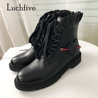 2018 Newest Ankle Boots Woman Rhinestone Bead Heart Decor Flower Fold Lace Up Flat Martin Boots For Women