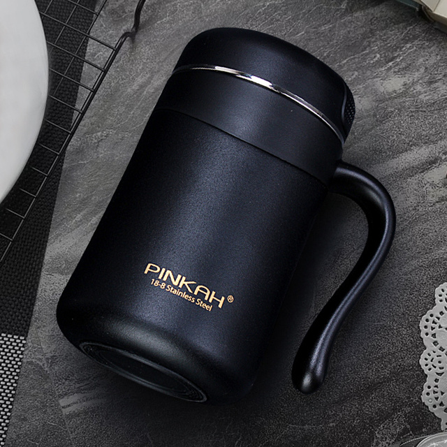 Pinkah 350ML 304 Stainless Steel Thermos Mugs Office Cup With Handle With Lid  Insulated Tea mug  Thermos Cup Office Thermoses