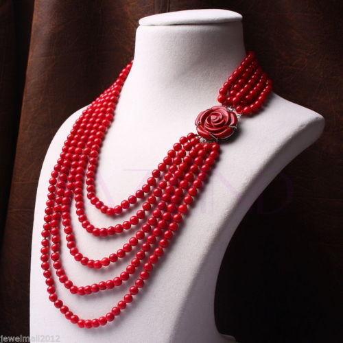 128c82753 العصرية هندسية 5-6 ملليمتر أحمر المرجان الخرز 5 صف وردة منحوتة زهرة الفضة  حبلا قلادة النساء بيان الكبير مكتنزة القلائد