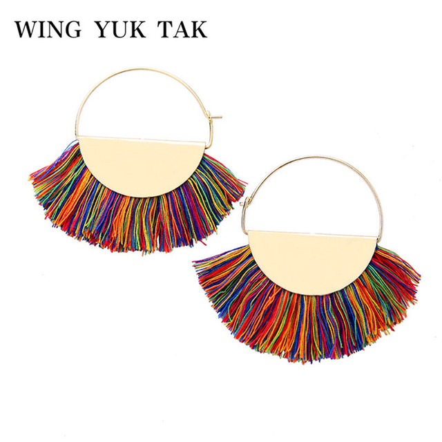 2018 Fashion Boho Tassel Hoop Earrings for Women Bohemia Statement Fringe Earings Circle Vintage Geometric Jewelry wing yuk tak