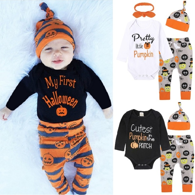 ae1819f05 My First Halloween Newborn Clothes Suits Baby Boy Jumpsuit Infant Bodysuit  Trouser Hat Pumpkin Costumes Outfits Girls Dress Tops