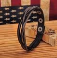 G548 Black Genuine Cow Leather Plaite Braided Bracelet Wristband Cuff New