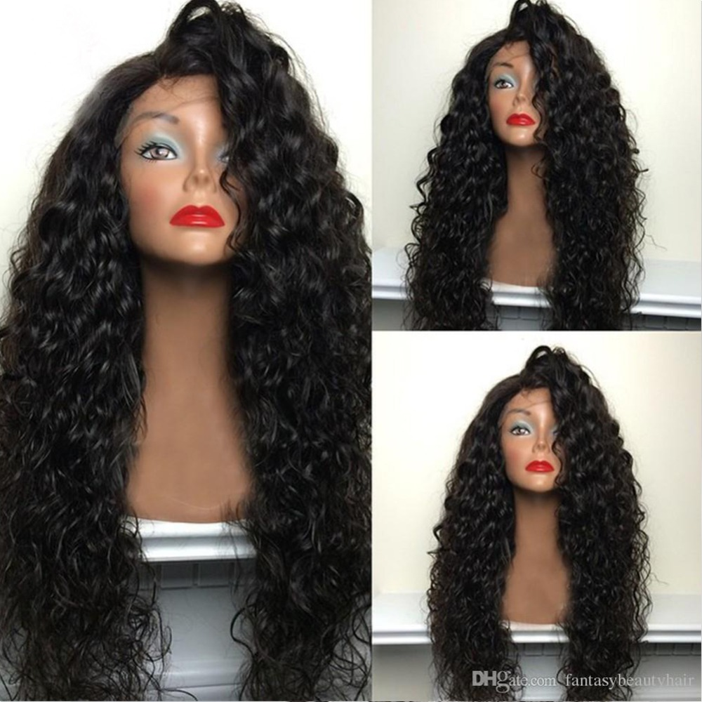 Fantasy Beauty Loose Curly Synthetic Lace Front Wig for Black Women Glueless Heat Resistant Fiber Loose