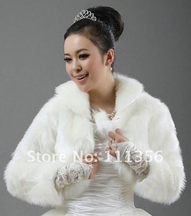 Ivory White Black Faux Fur Bridal Wrap Jacket Shawl Cape