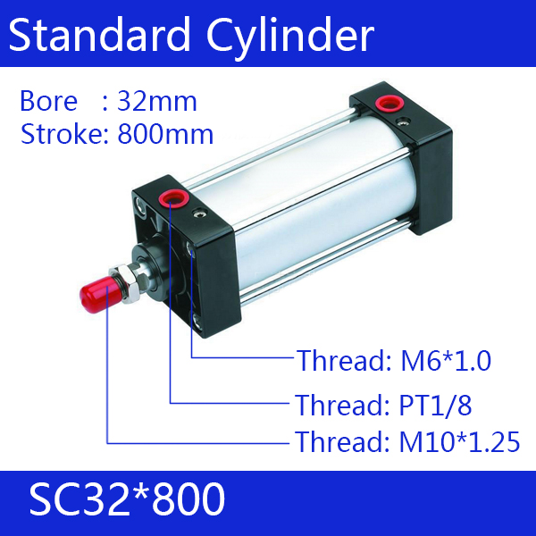 ФОТО SC32*800  Free shipping Standard air cylinders valve 32mm bore 800mm stroke SC32-800 single rod double acting pneumatic cylinder