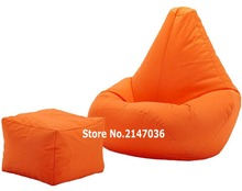 orange outdoor and indoor bean bag , waterproof beanbag lounger with square stool ottoman set