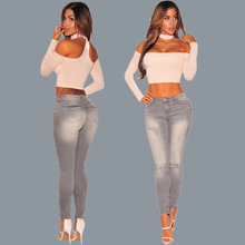 mom jeans 2018 New British Style Women Pants Casual Pants Female Apparel Elasticity Jeans Denim Vintage Gray Hole Jeans for Girl