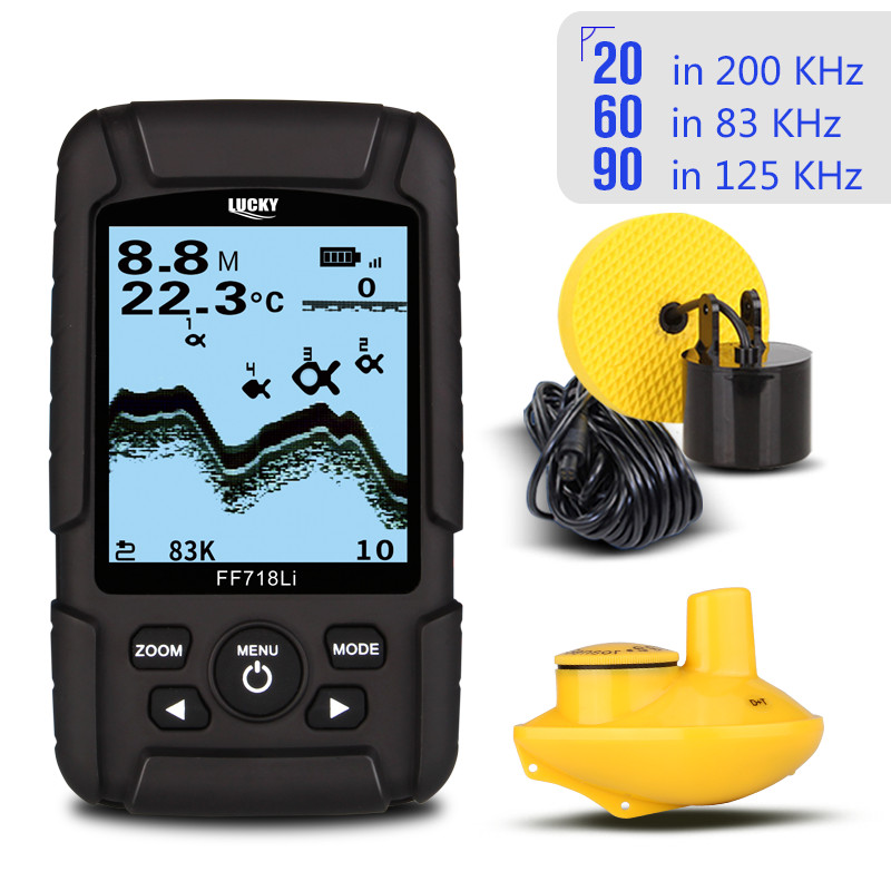 LUCKY FF718LiD Fish Finder Dual Sonar Frequency 60degree 100M Detection Muti-language Depth Detector Real-Waterproof Fishfinder lucky ff718lid