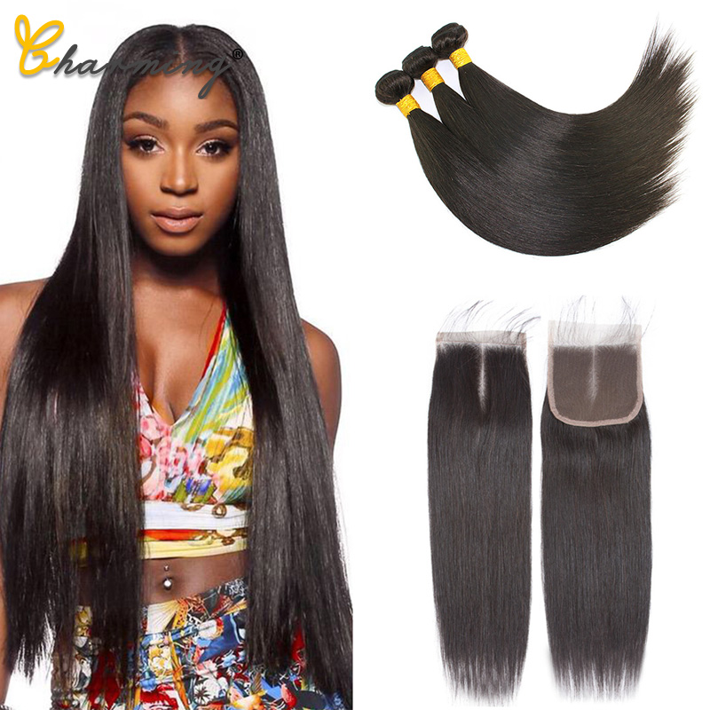 CHARMING Straight Bundles With Closure Brazilian Hair Weave Bundles With Closure Human Hair Bundles With Closure Hair Extension