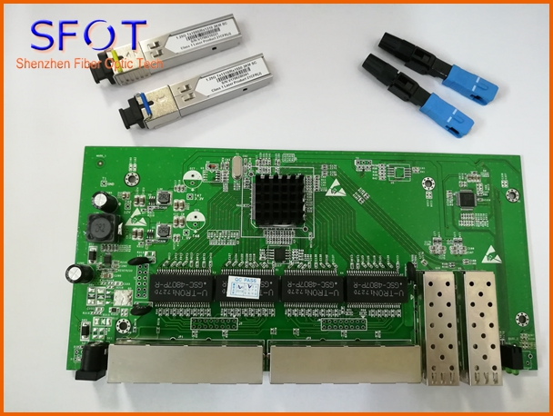 2 Ports SFP+8 Ports RJ45 POE reverse Switch board with web management, together with SFP SC port 3km and SC/UPC fast connector